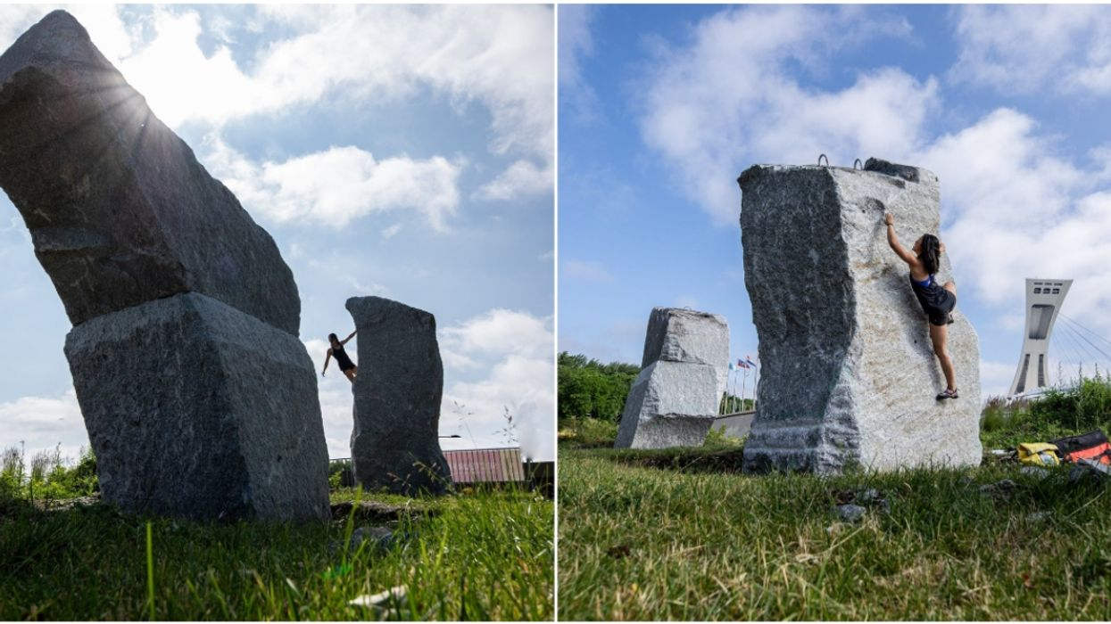 Montreal's Olympic Park Has Installed Giant Boulders You Can Now Climb