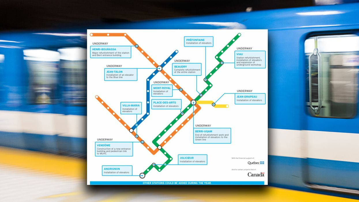 Map Of All The STM's Metro Stations That Are Closed For Construction