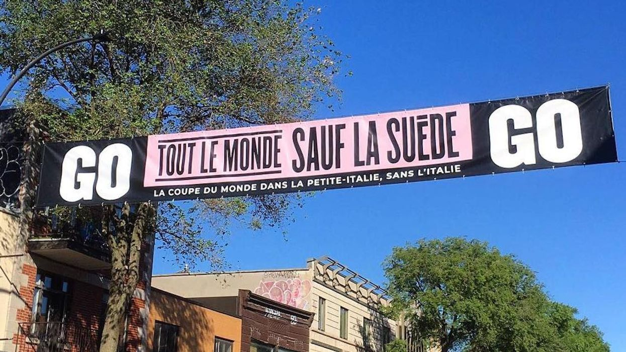 Montreal's Little Italy Installs Super Savage World Cup 2018 Banner Throwing Shade At Sweden