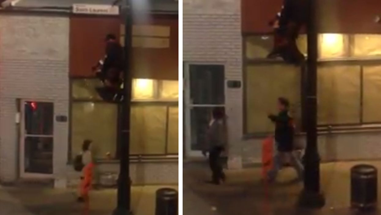 """Montreal Man Spotted """"Fishing"""" For Change On Saint-Laurent Street"""