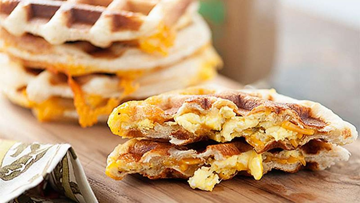 Bacon Stuffed Egg And Cheese Waffle Sandwich? Yes, Bacon Stuffed Egg And Cheese Waffle Sandwich