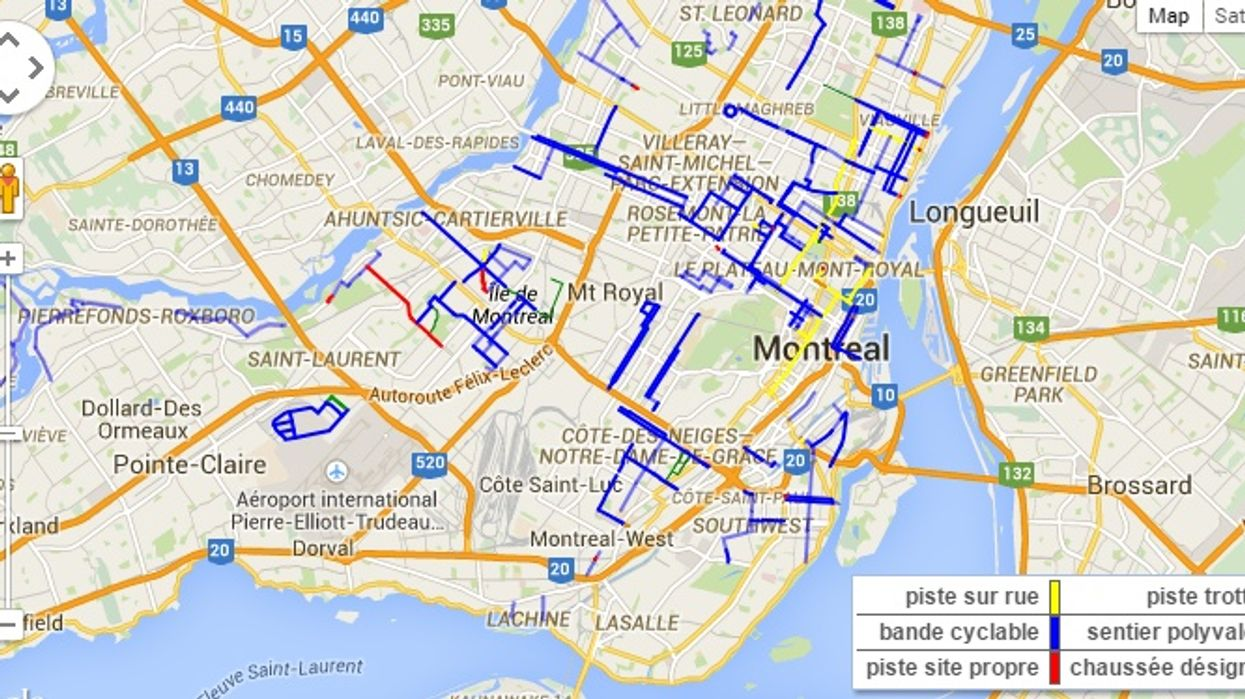 A Map Of All Of Montreal's Winter Bike Paths