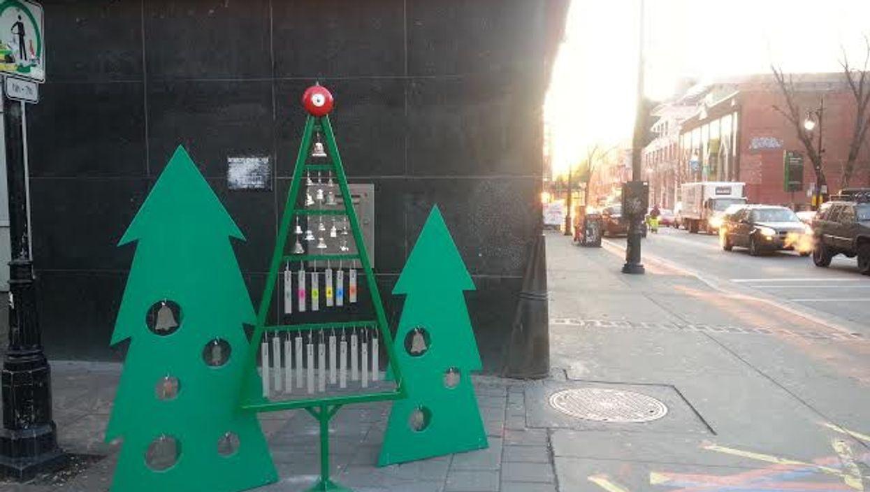"Montreal Christmas ""Street Bells"" Appear Corner Of Prince Arthur And Saint-Laurent"