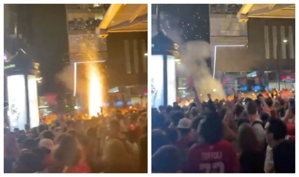 A Firework Went Off In The Middle Of The Crowd Outside The Bell Centre On Monday (VIDEO)