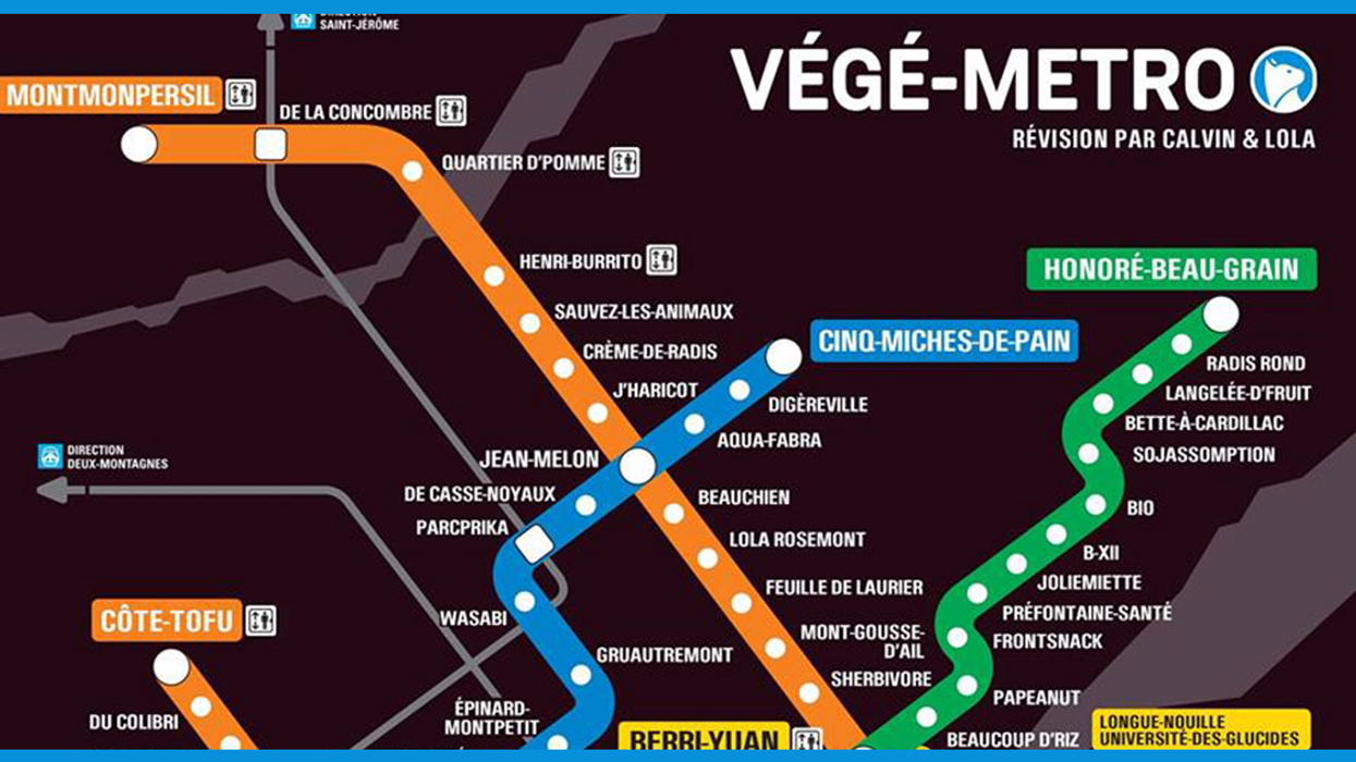 "Montreal Hilarious ""Veggie"" Metro Map"