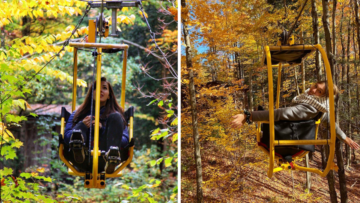 This Quebec Campground Has Flying Bikes & You Can Soar Through The Treetops This Fall