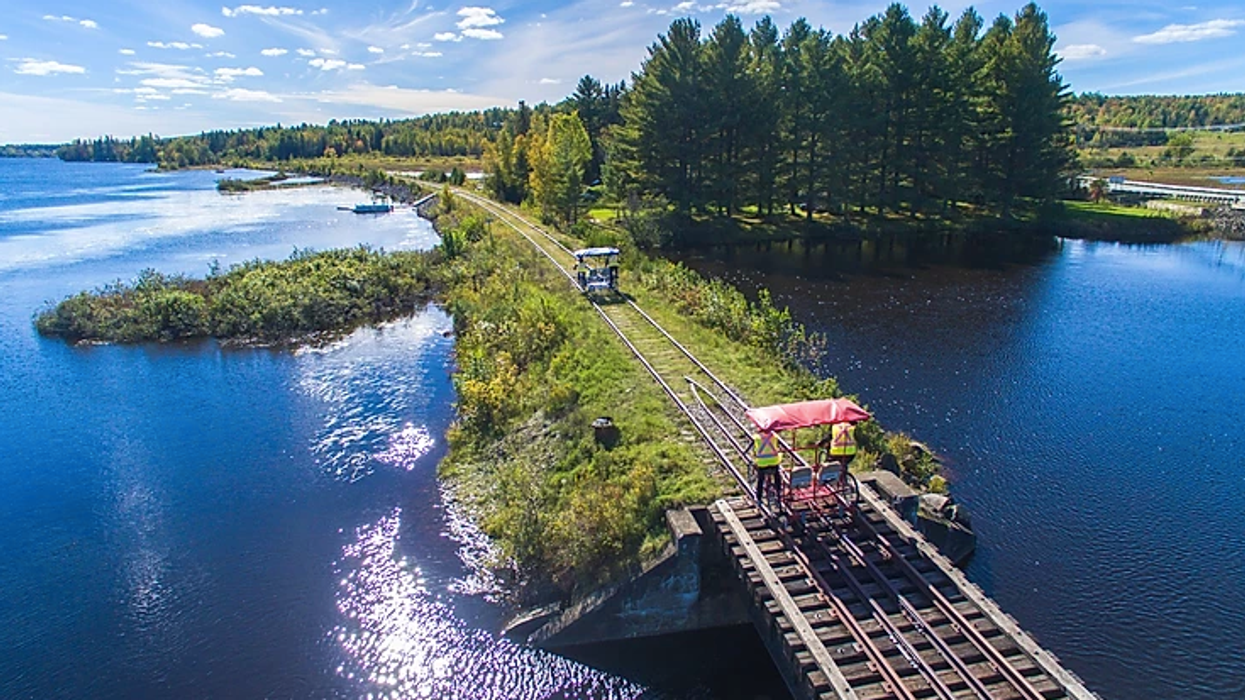 Les Vélorails de Beaulac-Garthby, Quebec Let You Ride Through The Forest For 10 km