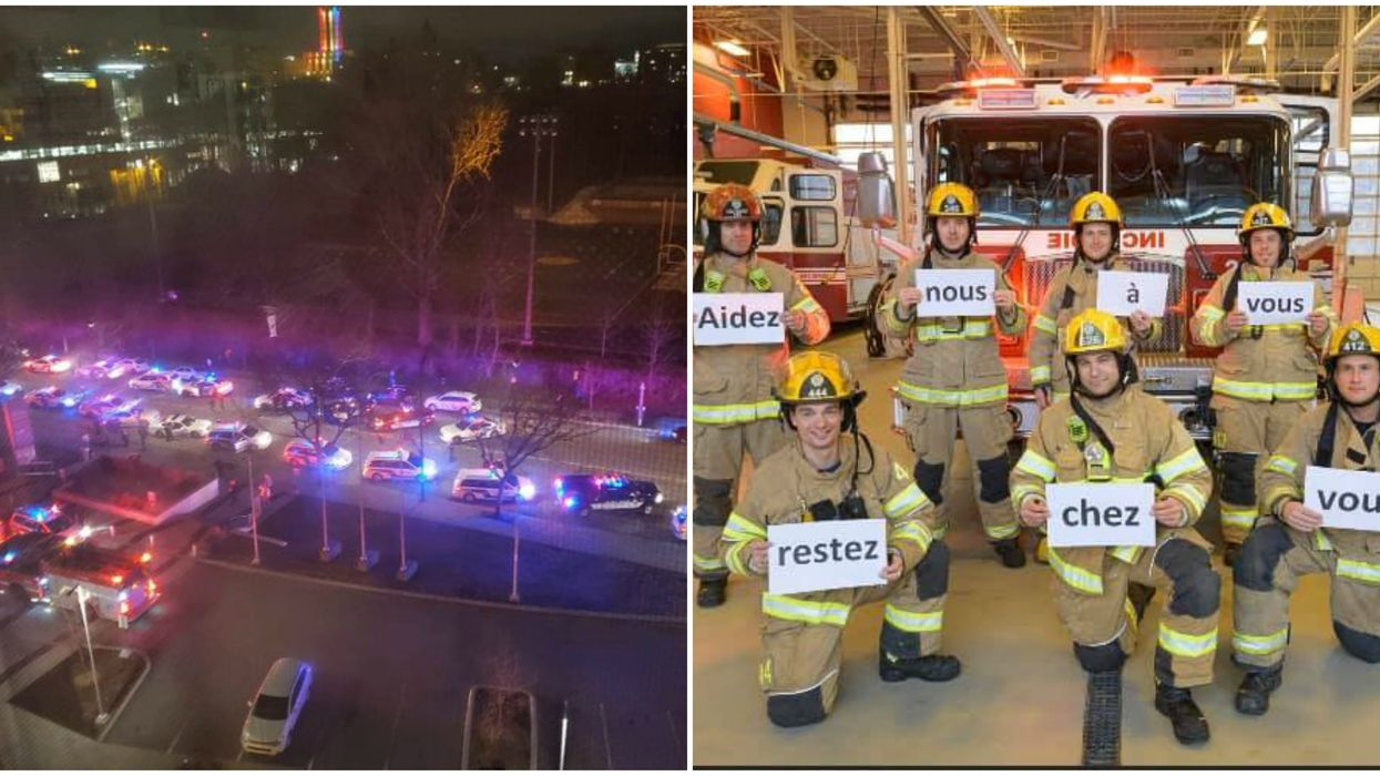 Montreal Area Police & Firefighters Blast Sirens & Music To Say Thanks (Video)