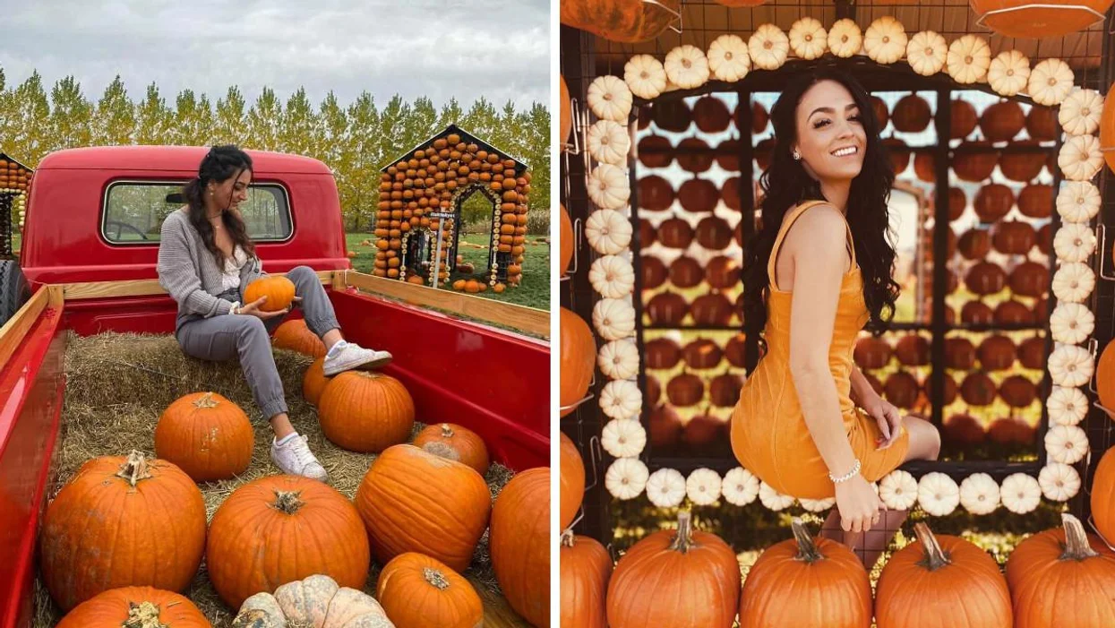 This Pumpkin Village 1 Hour From Montreal Is Super Enchanting & Lights Up At Night